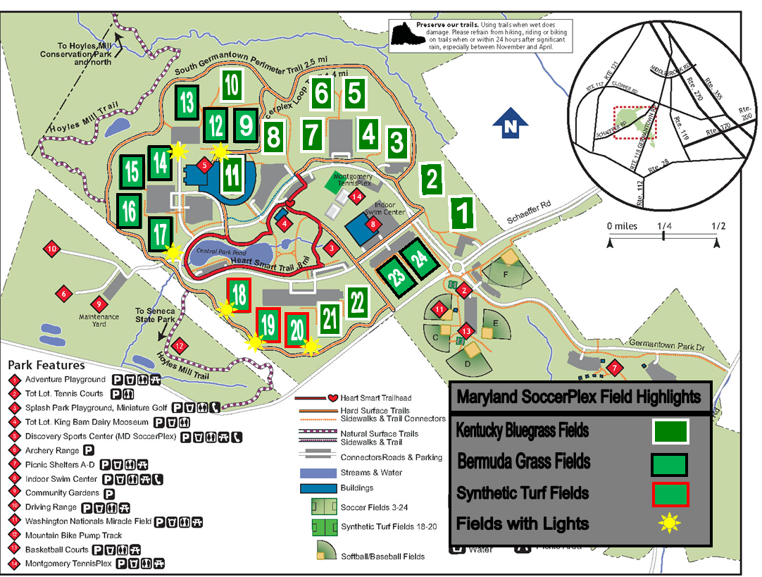 Maryland SoccerPlex Field Map | Soccer Association of Montgomery